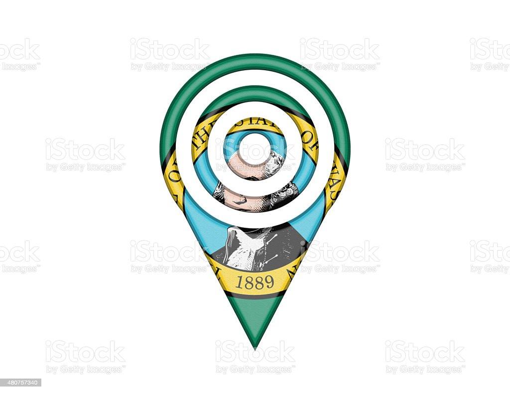 State Flag Pin of Washington vector art illustration
