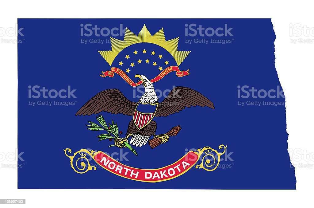 State of North Dakota flag map vector art illustration