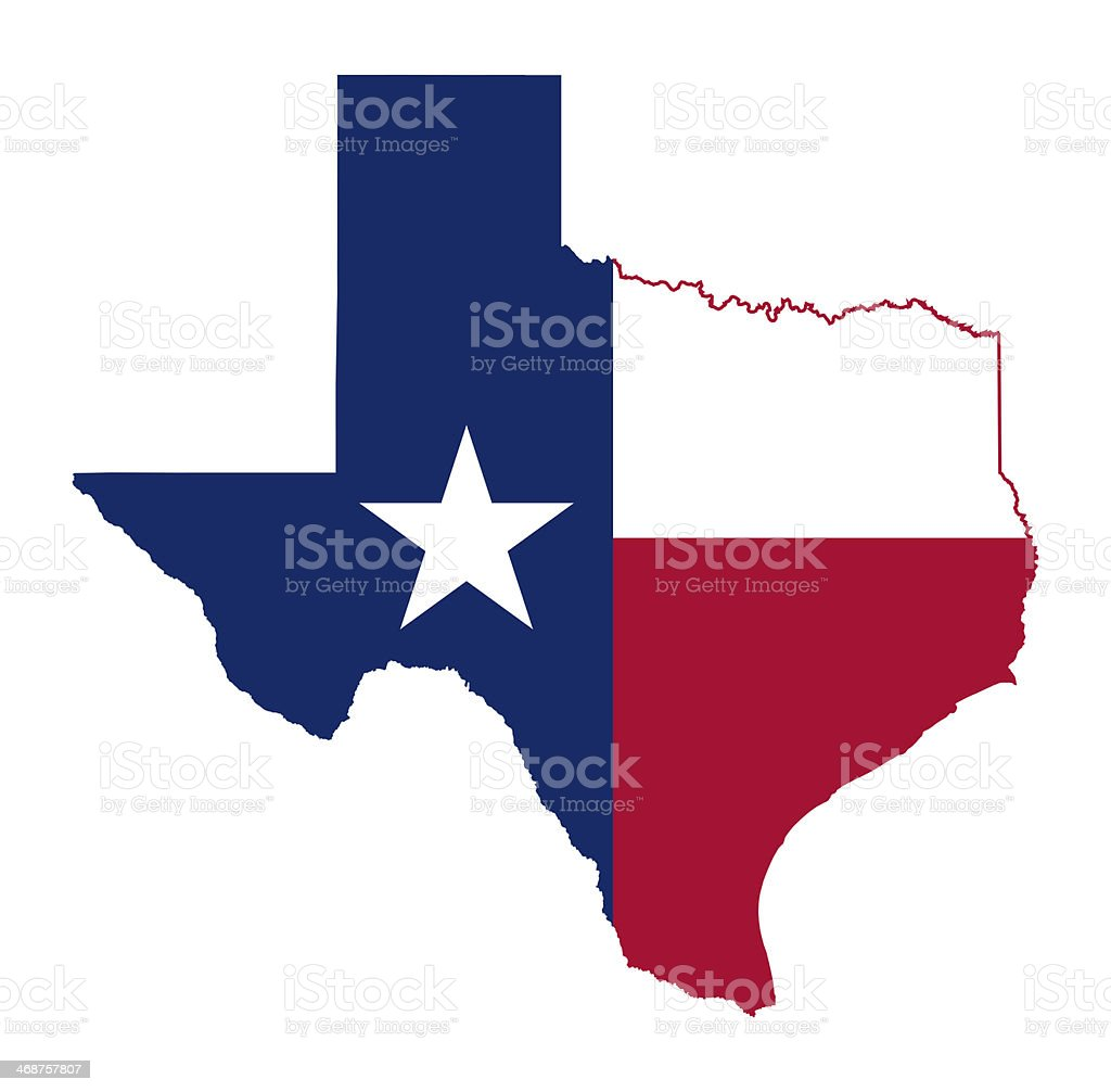 State of Texas flag map vector art illustration