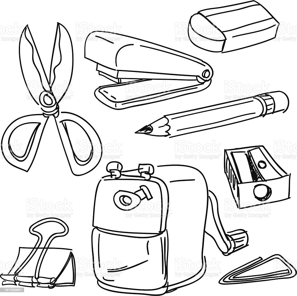 Stationery collection in black and white vector art illustration