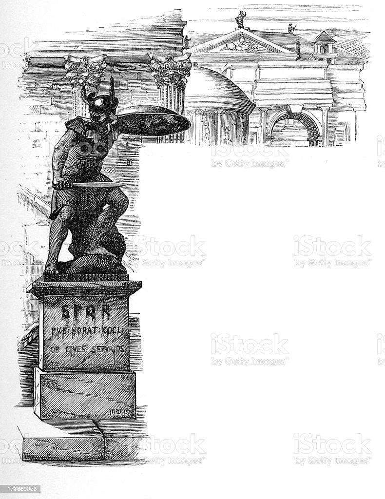 Statue of a Roman Hero royalty-free stock vector art