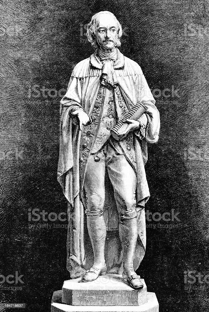 Statue of Alessandro Volta vector art illustration