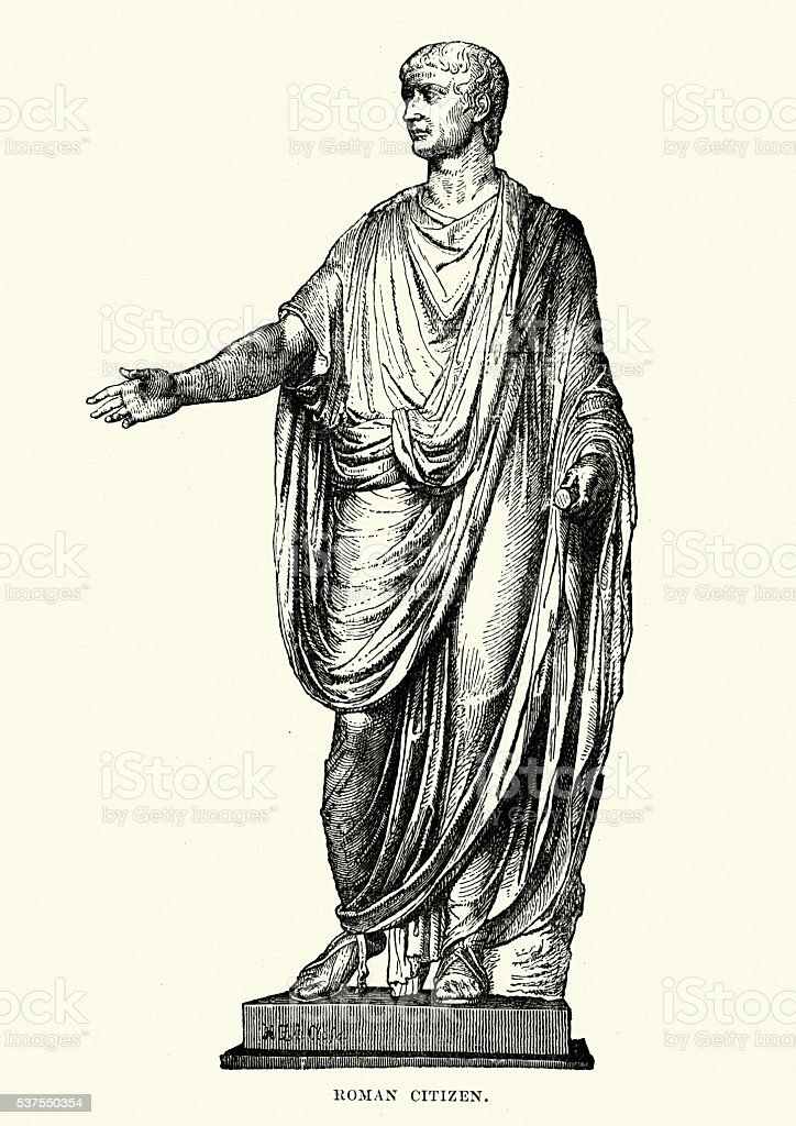 Statue of an Ancient Roman Citizen vector art illustration