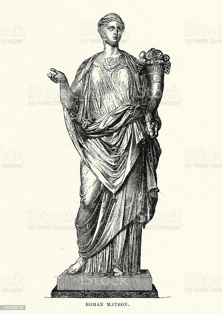 Statue of an Ancient Roman Matron vector art illustration