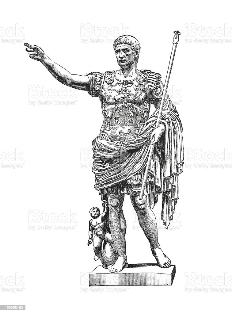 Statue of Augustus at the Vatican (antique engraving) vector art illustration