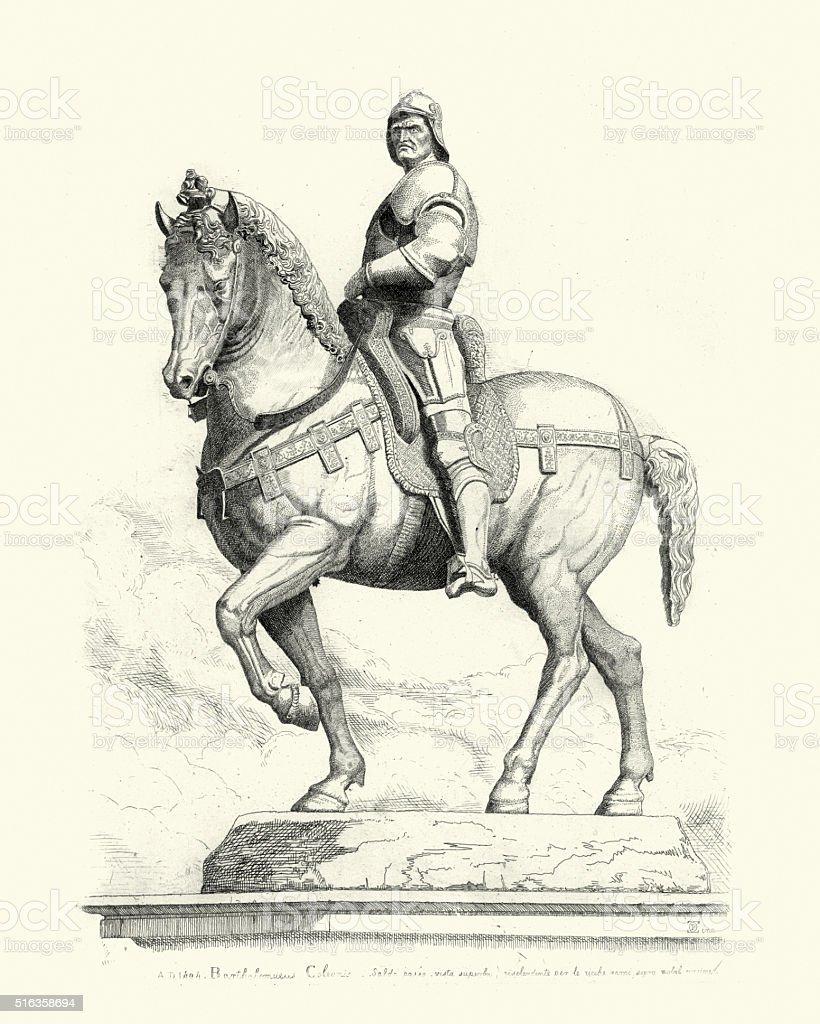 Statue of Bartolomeo Colleoni vector art illustration