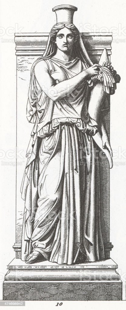 Statue of Felicitas publica by Pigalle Engraving stock photo