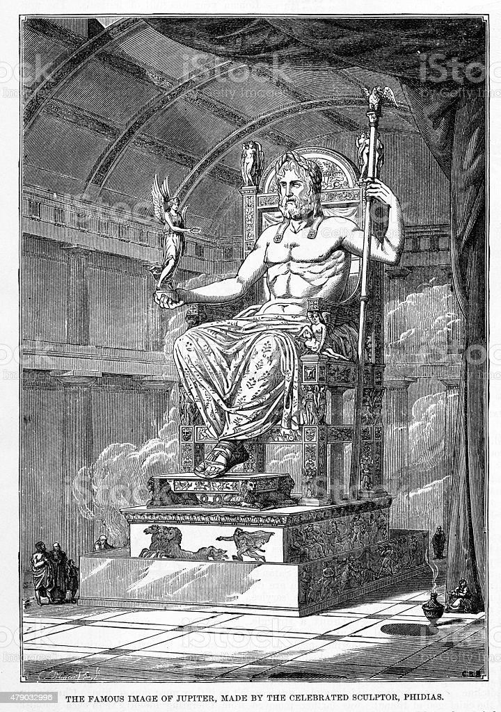 Statue of Jupiter by the Scupltor Phidias Engraving vector art illustration