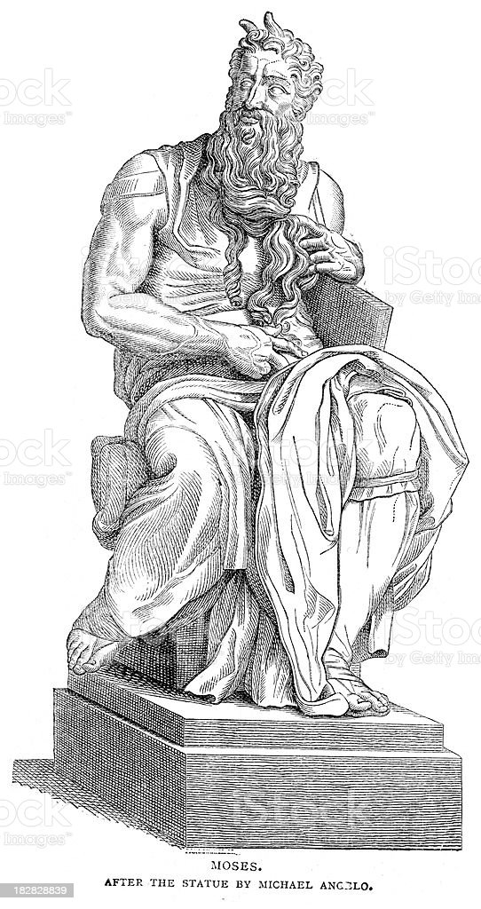 Statue of Moses vector art illustration