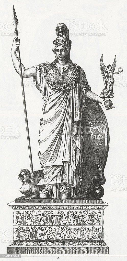 Statue of Pallas Engraving vector art illustration