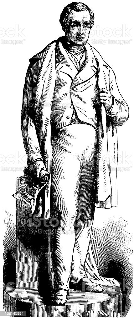 Statue of railway pioneer George Stephenson The Illustrated London News royalty-free stock vector art