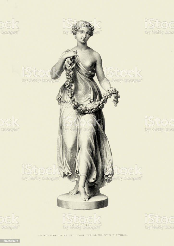 Statue of Spring by Benjamin Edward Spence vector art illustration