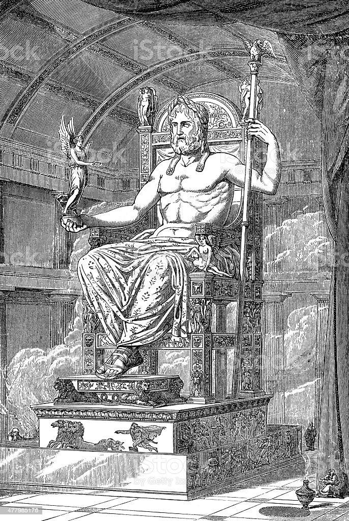 Statue Of The Roman God Jupiter vector art illustration