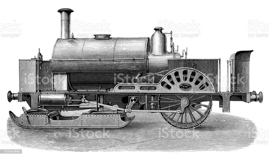 Steam engine sledge royalty-free stock vector art