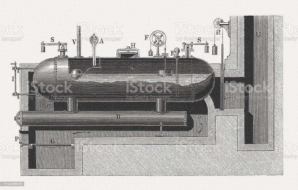 Steam heating boiler, wood engraving, published in 1880 vector art illustration