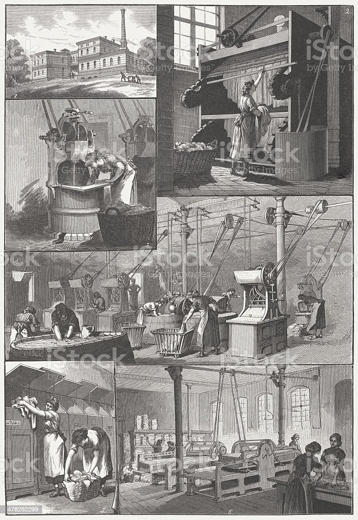 Steam laundry of the Charité in Berlin, 19th century royalty-free stock vector art