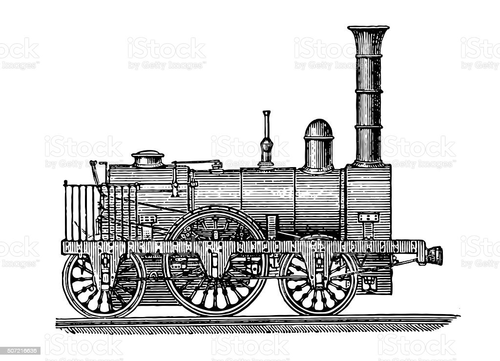 Steam locomotive, vintage engraving vector art illustration