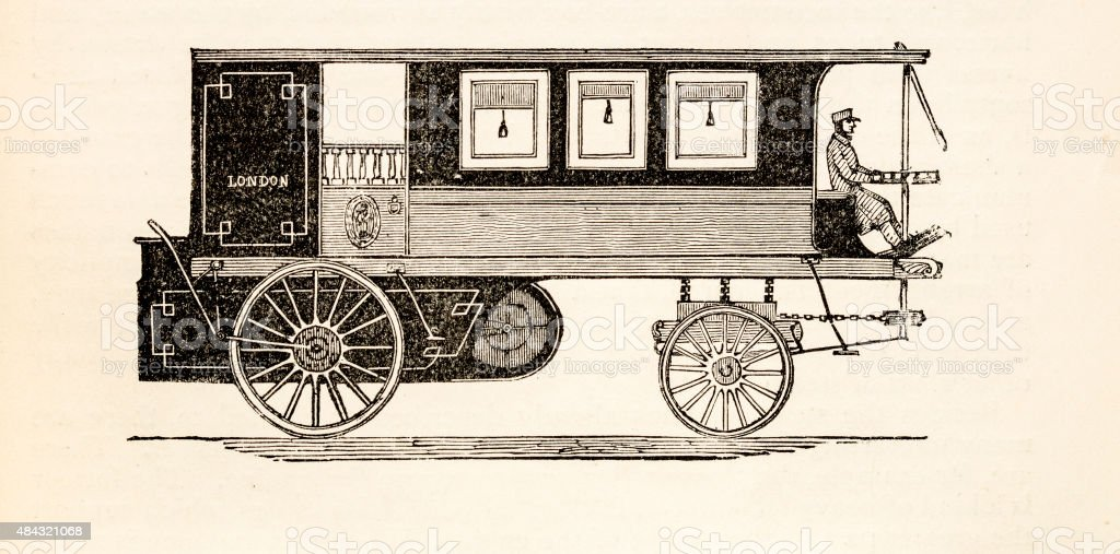 Steam omnibus, a 19 century technical illustration vector art illustration