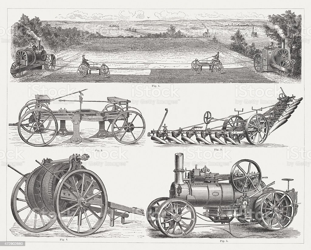 Steam ploughing engines, wood engravings, published 1875 vector art illustration