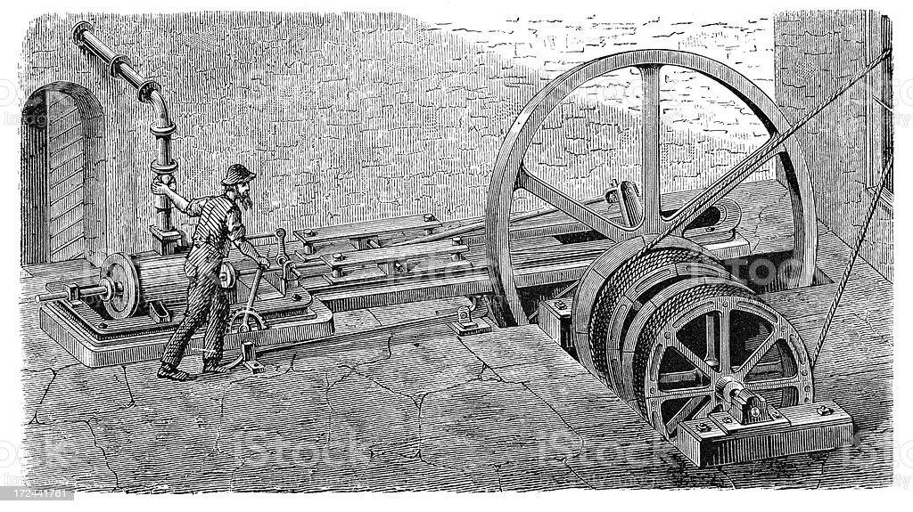 Steam powered windlass vector art illustration