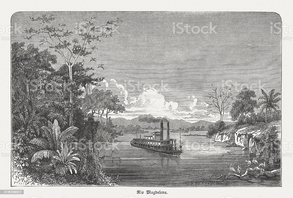 Steam ship on the Magdalena River, Colombia, published in 1873 vector art illustration