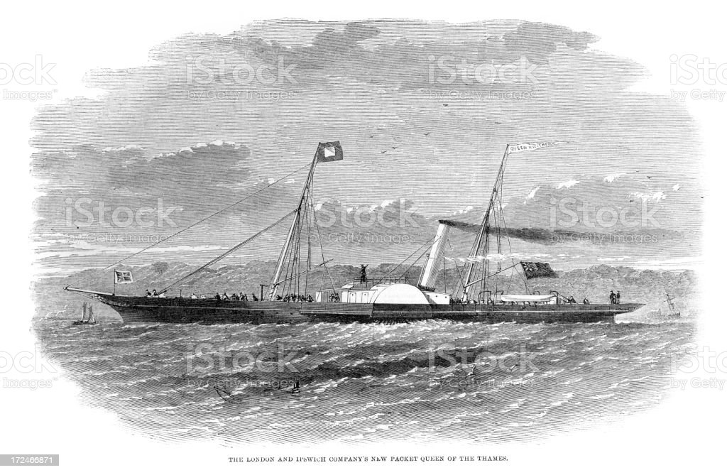 Steam Ship - Queen of the Thames royalty-free stock vector art
