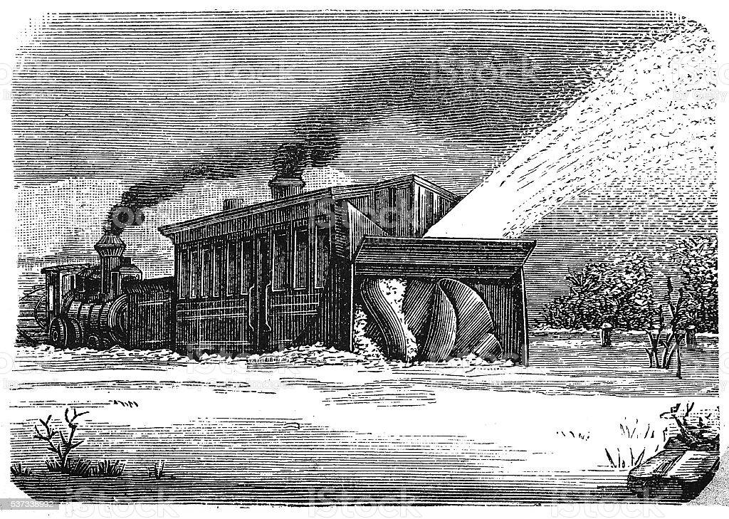 Steam snowplow in action vector art illustration