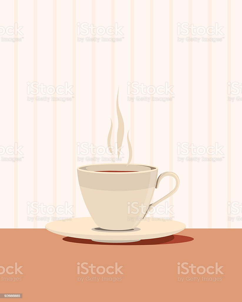 Steaming hot cup of tea or coffee vector art illustration