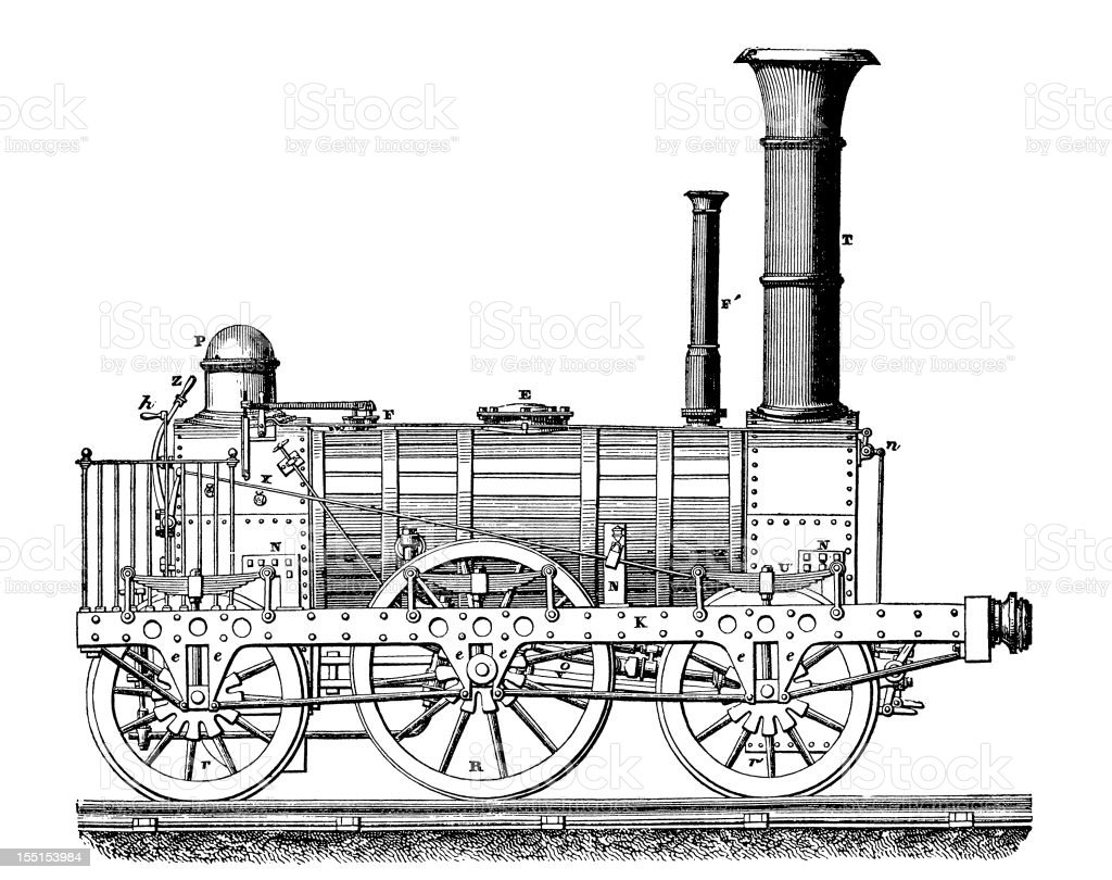 Steam-powered machines and devices royalty-free stock vector art