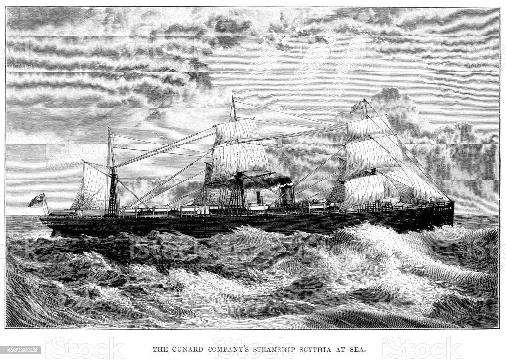 Steamship Scythia vector art illustration