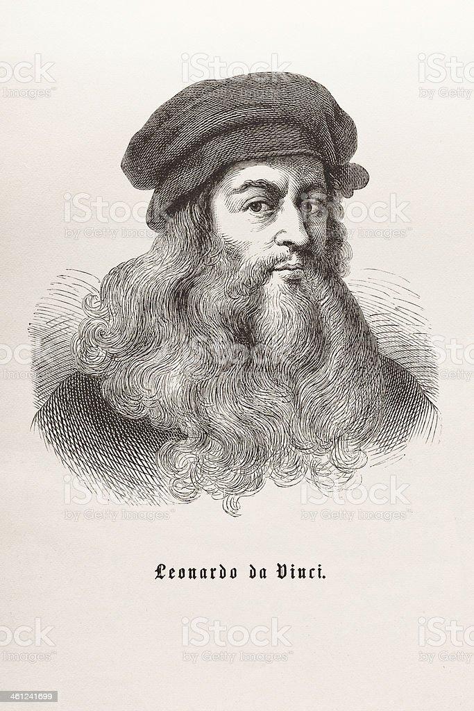 Steel engraving of Leonardo da Vinci from 1870 vector art illustration