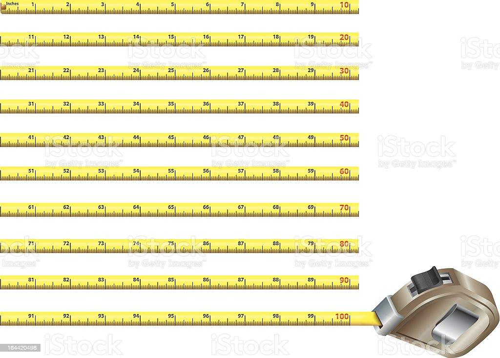 Steel measure tape - inches version vector art illustration