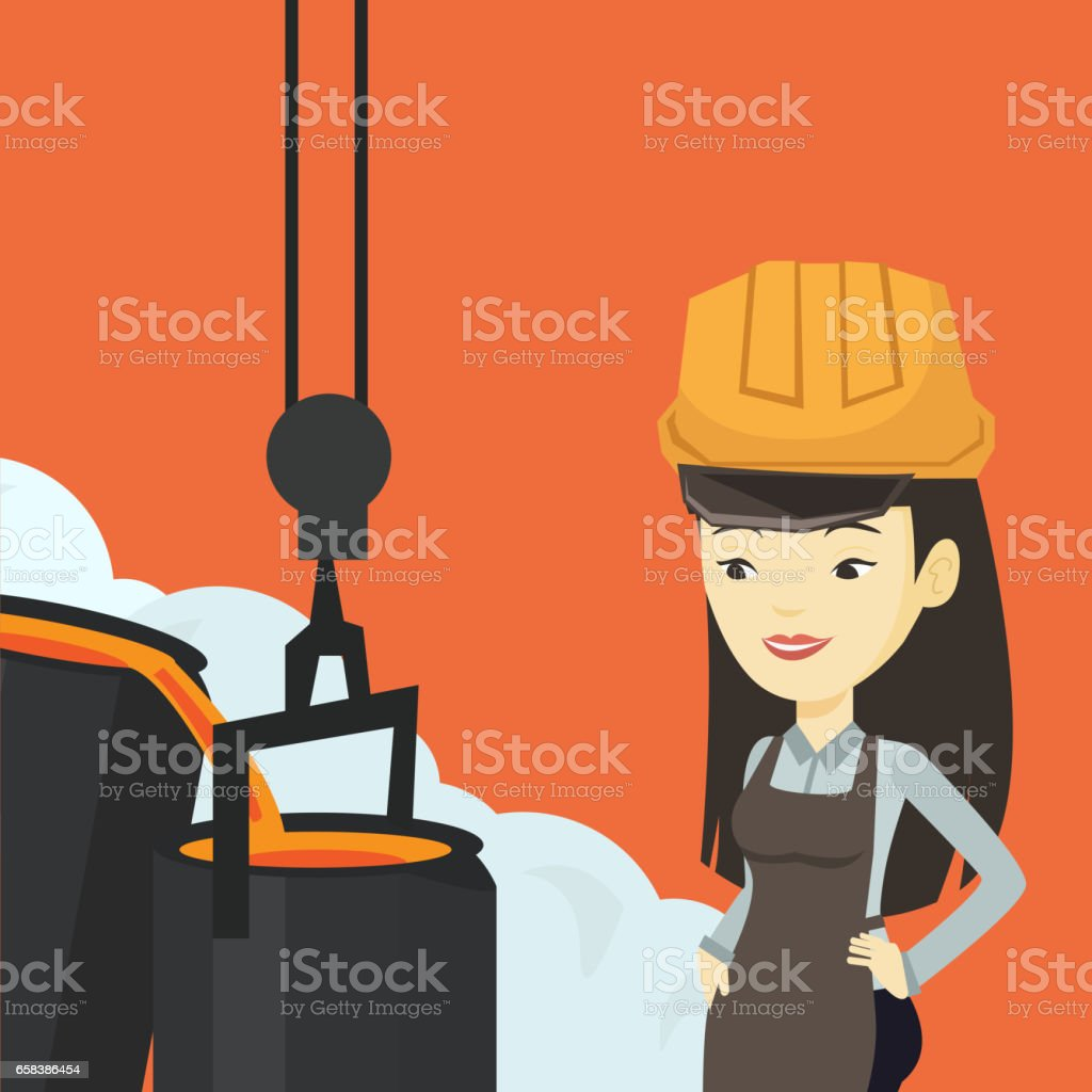 Steelworker in hardhat at work in the foundry vector art illustration