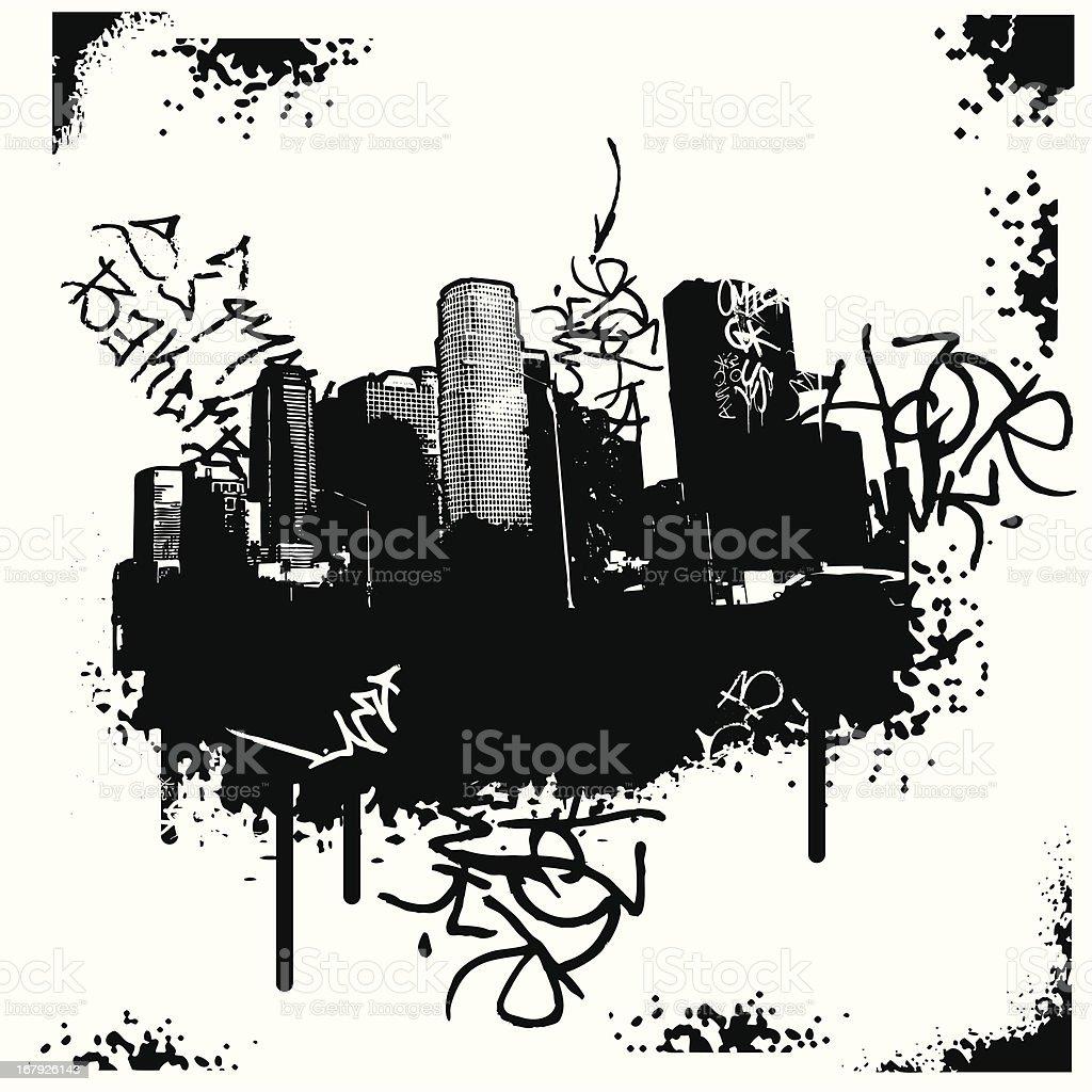 Stencil of city with graffiti vector art illustration