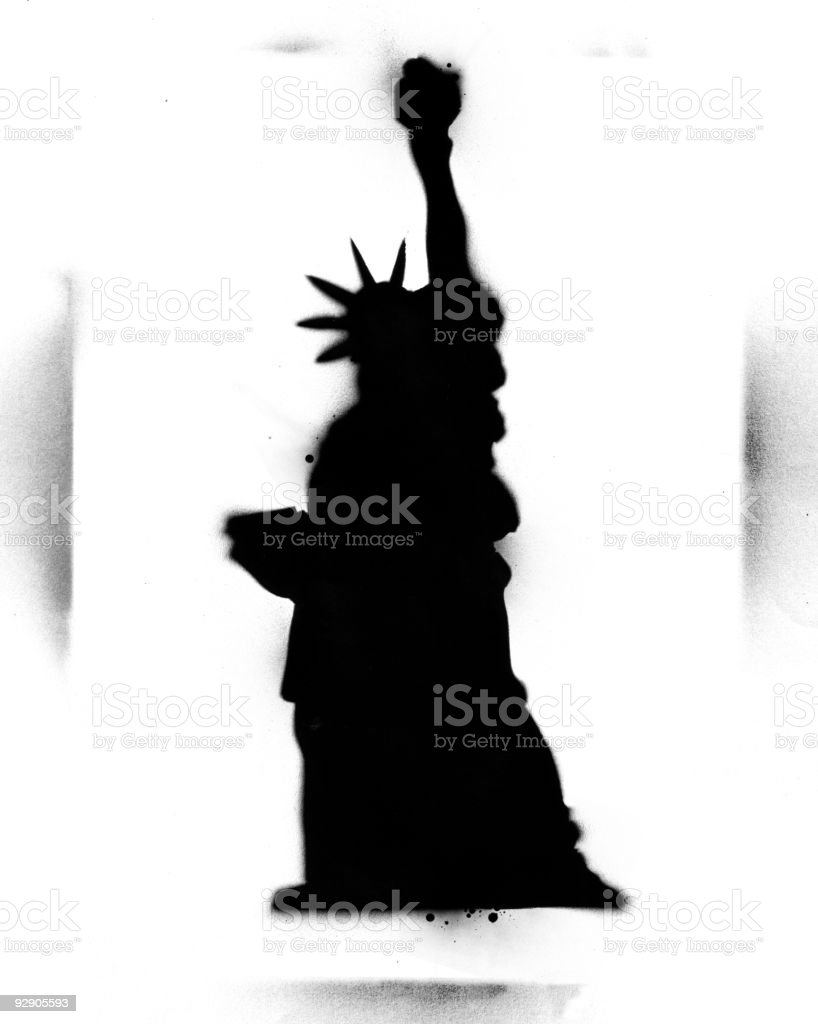 Stencil Statue of Liberty vector art illustration