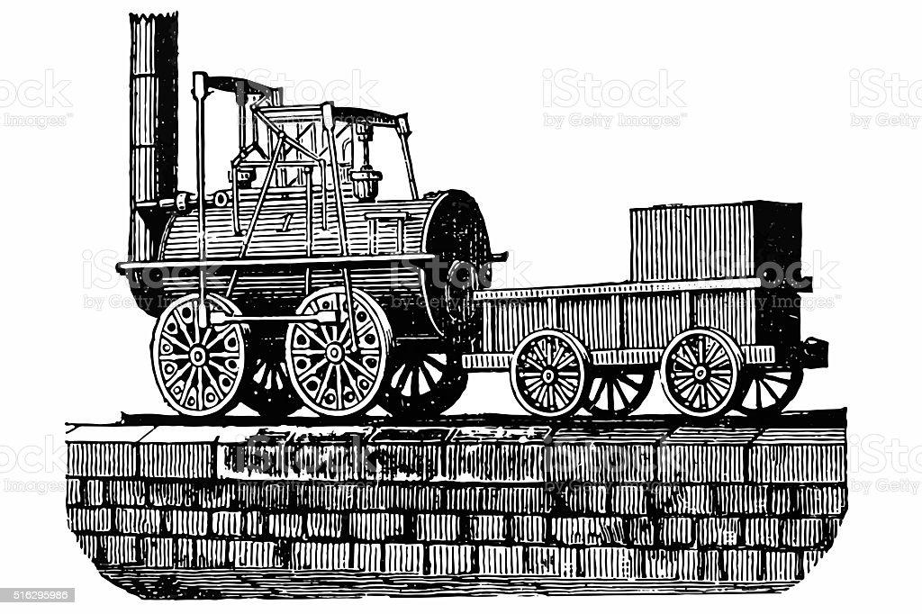 Stephenson's locomotive vector art illustration