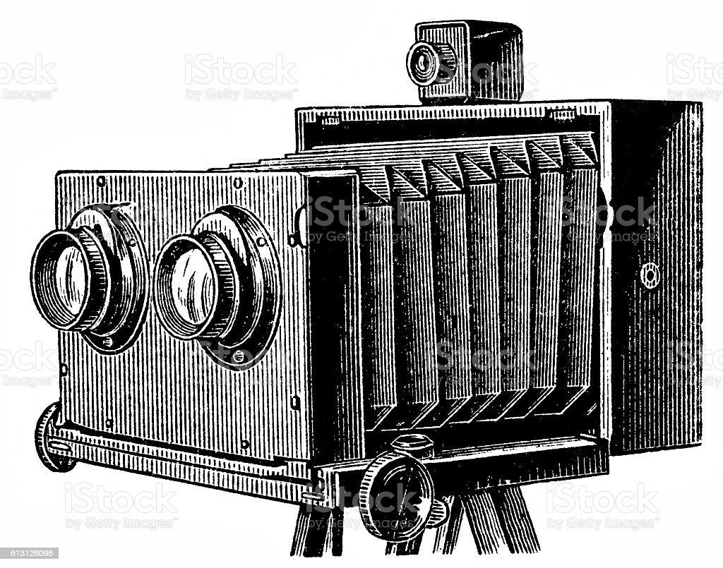 Stereoscopic camera vector art illustration