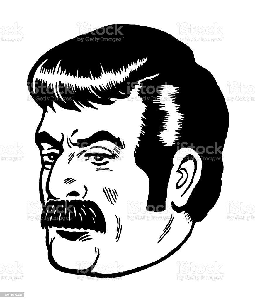 Stern Mustache Man royalty-free stock vector art