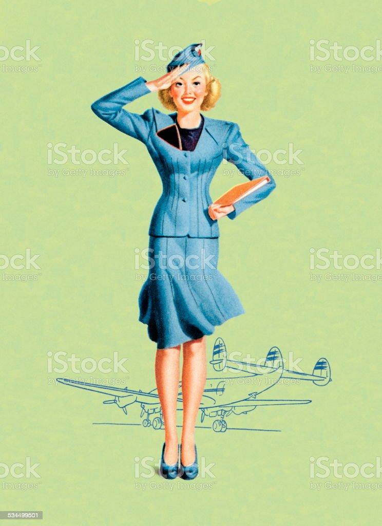 Stewardess vector art illustration