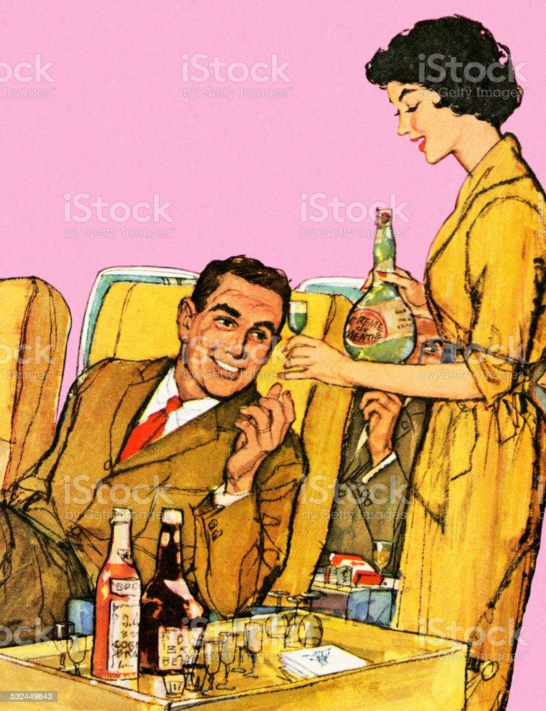 Stewardess Serving Drinks on Airplane vector art illustration