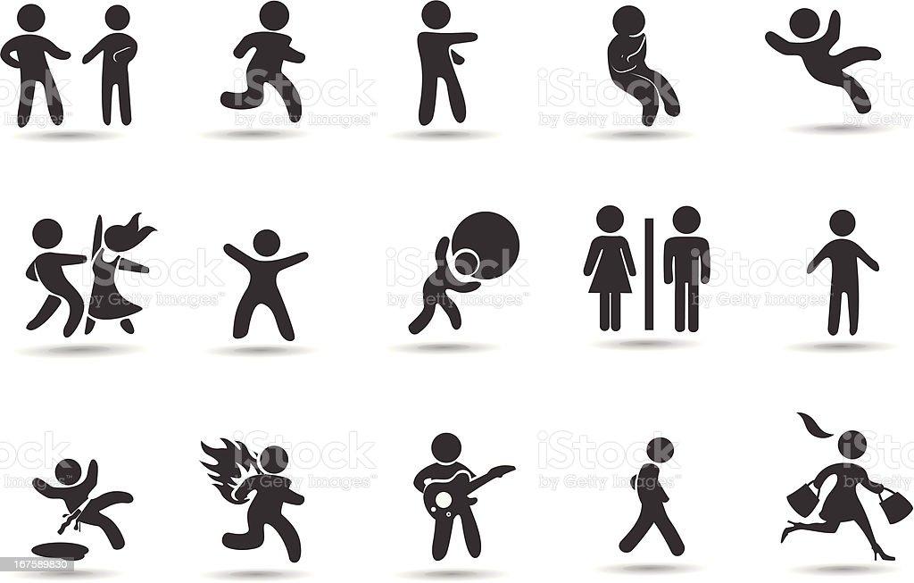 Stick Figure Icon Set vector art illustration