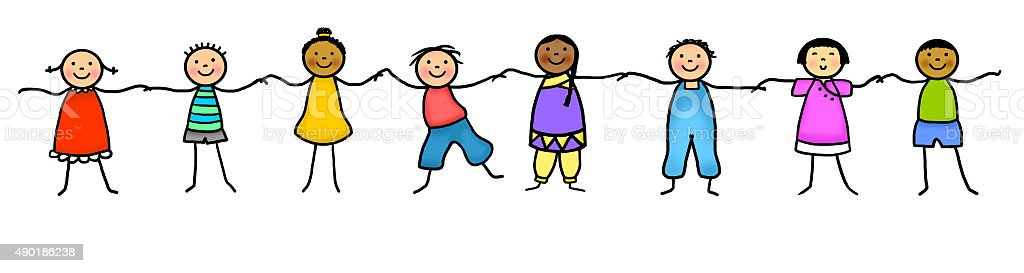 Stick figure kids holding hands vector art illustration