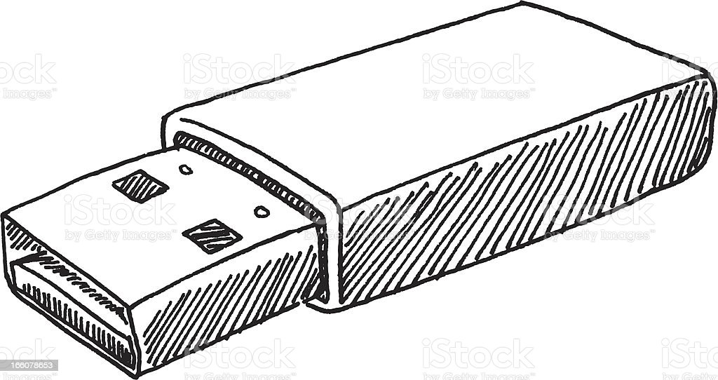 USB Stick Sketch vector art illustration