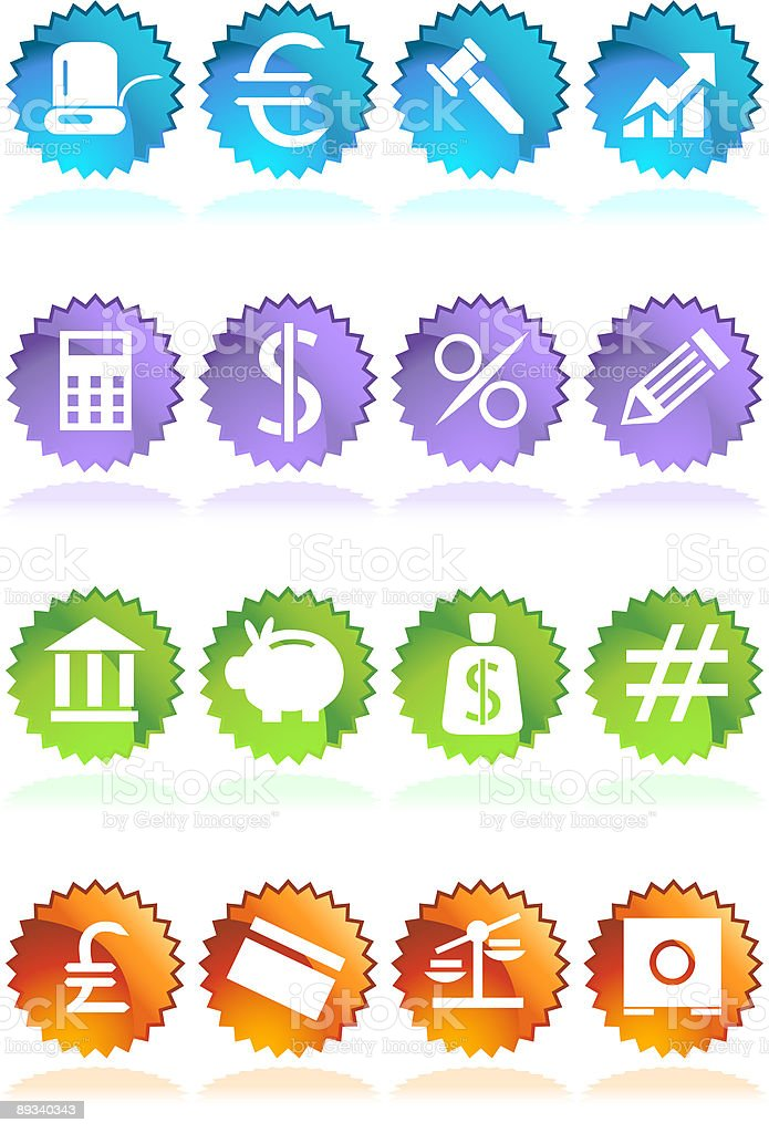 Sticker Seal Banking Buttons royalty-free stock vector art
