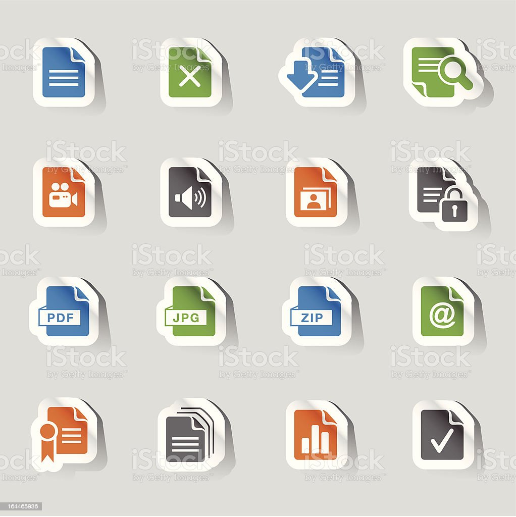 Stickers - File format icons royalty-free stock vector art
