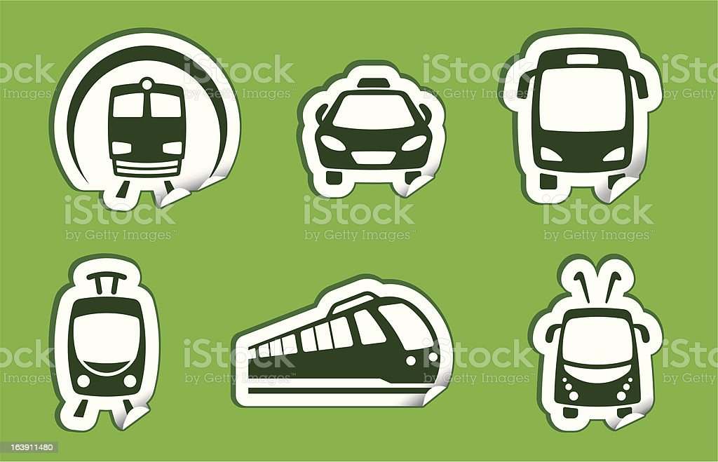 Stickers with municipal transportation images vector art illustration