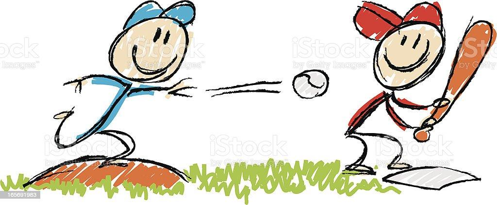 stickfigure baseball royalty-free stock vector art