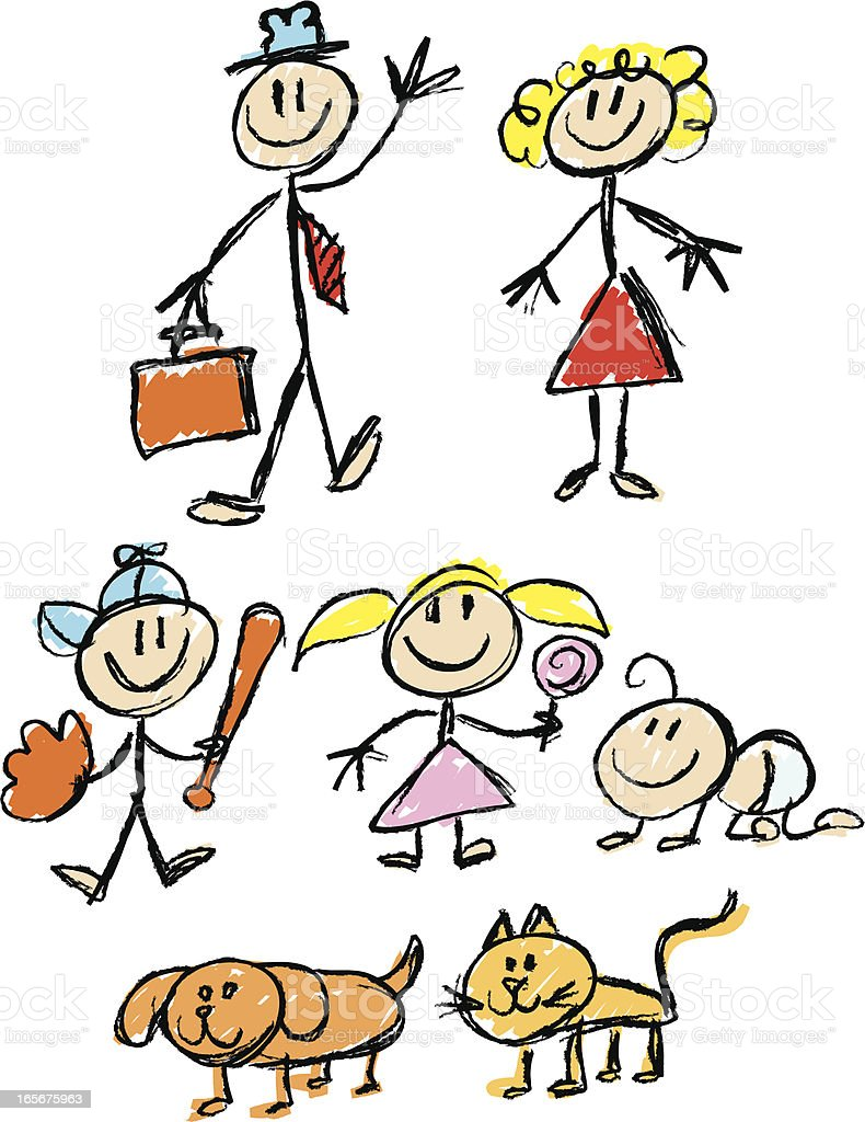 stickfigure family sketchy royalty-free stock vector art