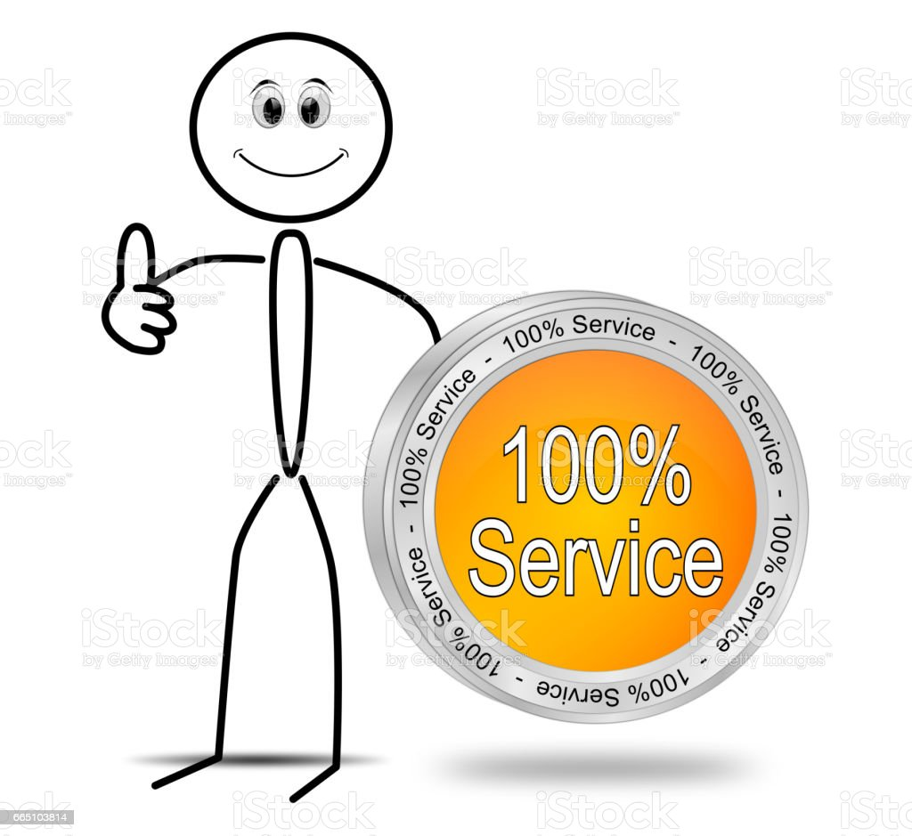 Stickman with 100% Service button - 3D illustration stock photo