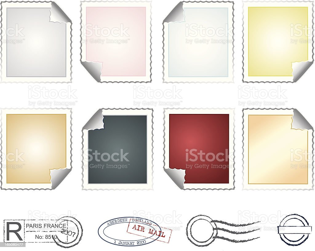 Sticky Stamps Set royalty-free stock vector art